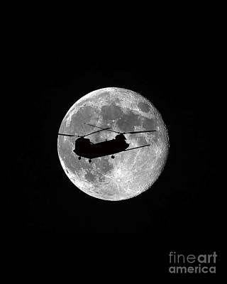 Chinook Moon B And W Vertical Poster