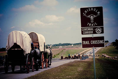 Chisholm Trail Centennial Cattle Drive Poster by Toni Hopper