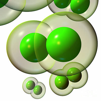 Chlorine Molecule 3 White Poster by Russell Kightley