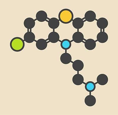 Chlorpromazine Antipsychotic Molecule Poster by Molekuul