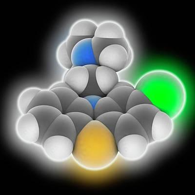 Chlorpromazine Drug Molecule Poster by Laguna Design