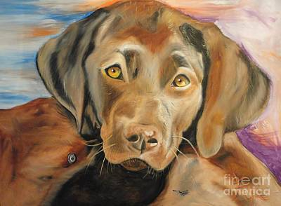 Poster featuring the painting Chocolat Labrador Puppy by PainterArtist FIN
