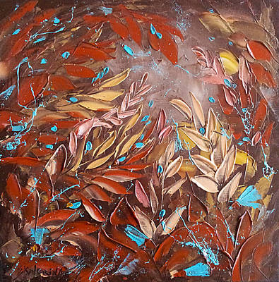 Chocolate And Turquoise Abstract Art Oil Painting By Ekaterina Chernova Poster
