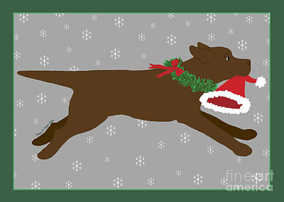 Chocolate Labrador Steals Santa's Hat Poster