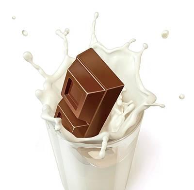 Chocolate Splashing Into Milk Poster by Leonello Calvetti