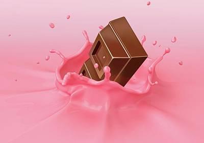 Chocolate Splashing Into Milkshake Poster by Leonello Calvetti
