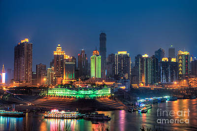 Chongqing City Skyline Poster by Fototrav Print