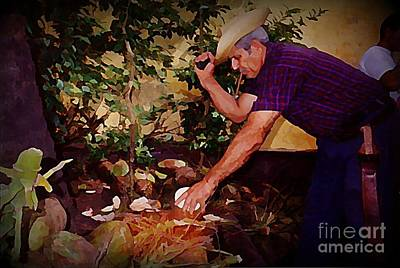 Chopping Coconuts In Cuba Poster by John Malone