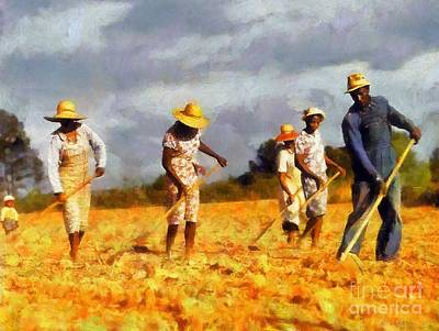 Poster featuring the digital art Chopping Cotton by Kai Saarto