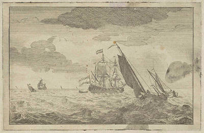 Choppy Sea With A Three-master, Adam Silo Poster by Adam Silo