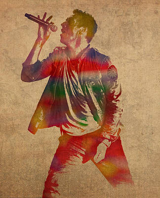 Chris Martin Coldplay Watercolor Portrait On Worn Distressed Canvas Poster by Design Turnpike