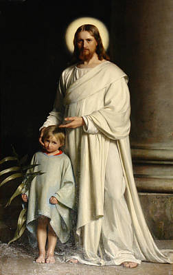 Christ And The Child Poster by Carl Bloch