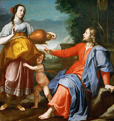 Christ And The Samaritan Woman At The Well Poster by Lorenzo Lippi