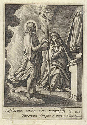 Christ Appears To Mary, Hieronymus Wierix Poster by Hieronymus Wierix