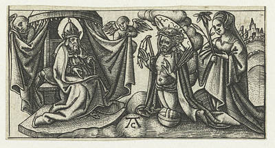Christ Before Gods Throne, Monogrammist Ac 16e Eeuw Poster