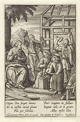 Christ Child Is Building A House, Hieronymus Wierix Poster