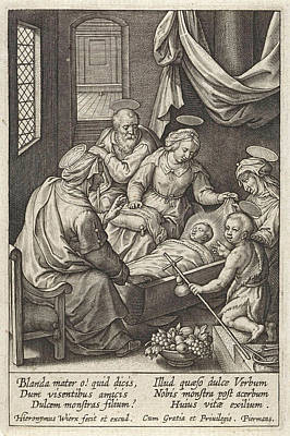 Christ Child Sleeps In The Crib, Hieronymus Wierix Poster by Hieronymus Wierix