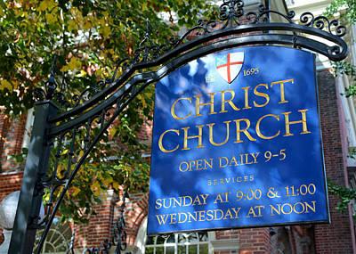 Christ Church Sign -- Philadelphia Poster by Stephen Stookey