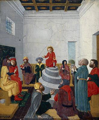 Christ Disputing With The Doctors Oil On Panel Poster by Bernadino Jacobi Butinone