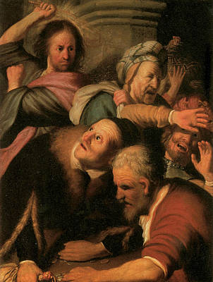 Christ Driving The Money-changers From The Temple Poster by Rembrandt