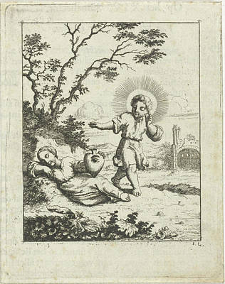Christ Finds The Personified Soul Asleep Poster by Jan Luyken And Pieter Arentsz Ii