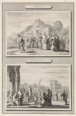 Christ Gives Advice To A Rich Young Man And The Sermon Poster by Jan Luyken And Pieter Mortier And Anonymous