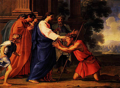 Christ Healing The Blind Man Poster by MotionAge Designs