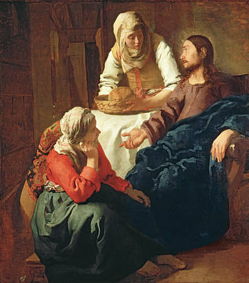 Christ In The House Of Martha And Mary Poster by Jan Vermeer
