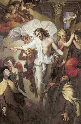 Christ Resurrected Between St Teresa Of Avila Poster by Michel des Gobelins Corneille
