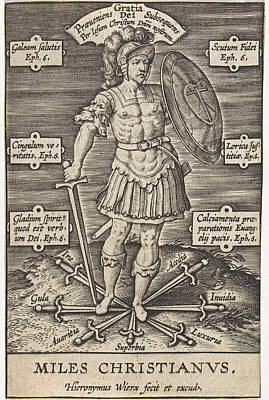 Christian Knight, Hieronymus Wierix, Girolamo Olgiati Poster by Hieronymus Wierix And Girolamo Olgiati