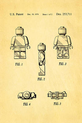 Christiansen Lego Figure 2 Patent Art 1979 Poster by Ian Monk