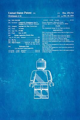 Christiansen Lego Figure Patent Art 1979 Blueprint Poster