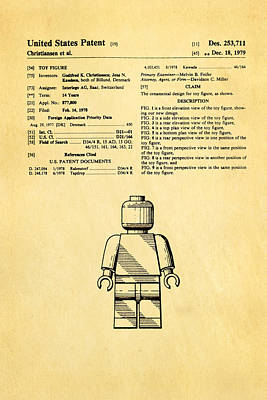 Christiansen Lego Figure Patent Art 1979 Poster by Ian Monk