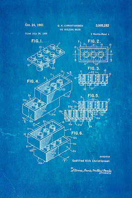 Christiansen Lego Toy Building Block Patent Art 2 1961 Blueprint Poster by Ian Monk