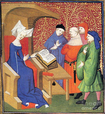 Christine De Pizan Lecturing To Men Poster by Photo Researchers