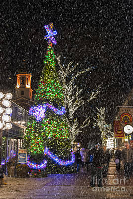 Christmas At Quincy Market Boston Poster