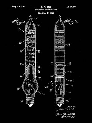 Christmas Bubbling Light Bulb Patent 1945 - Black Poster by Stephen Younts