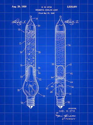Christmas Bubbling Light Bulb Patent 1945 - Blue Poster by Stephen Younts