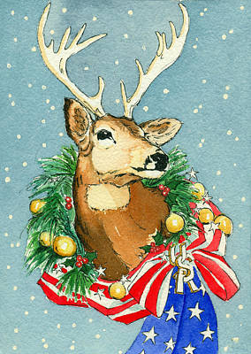 Christmas Buck Poster by Katherine Miller