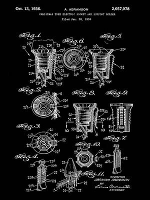 Christmas Bulb Socket Patent 1936 - Black Poster by Stephen Younts