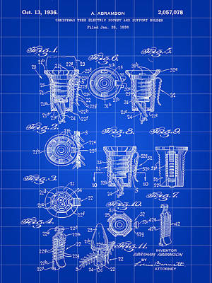 Christmas Bulb Socket Patent 1936 - Blue Poster by Stephen Younts