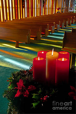 Poster featuring the photograph Christmas Candles At Church Art Prints by Valerie Garner