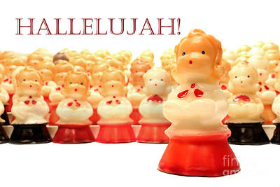 Christmas Card Choir Candles Figurines Poster by Adam Long