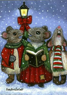 Christmas Caroler Mice Poster by Sandra Estes