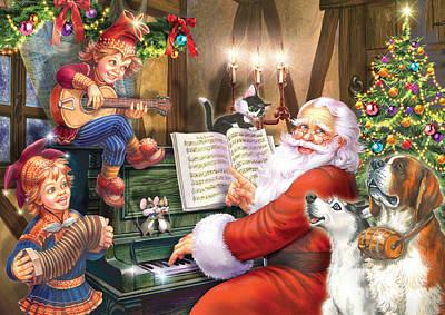 Christmas Carols Poster by Zorina Baldescu