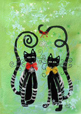 Poster featuring the digital art Christmas Cats by Arline Wagner