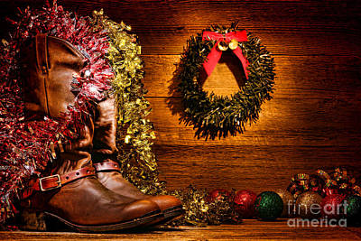 Christmas Cowboy Boots Poster by Olivier Le Queinec