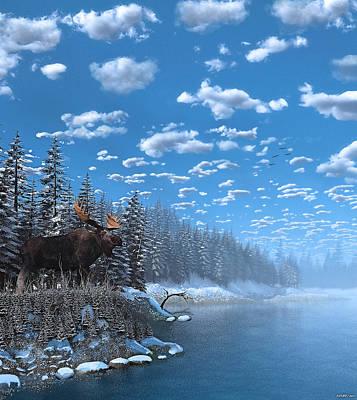 Christmas Day At Moose Lake Poster by Ken Morris