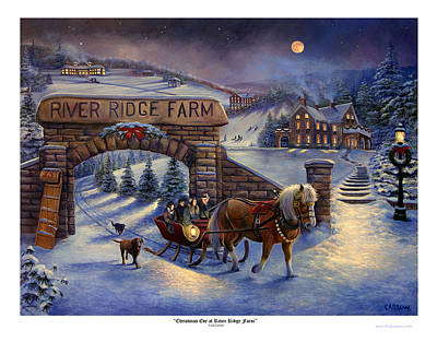 Christmas Eve At River Ridge Farm Poster by Frederick Carrow