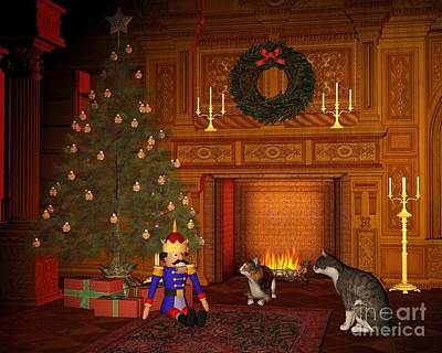 Christmas Eve Cats By The Fire Poster by Fairy Fantasies